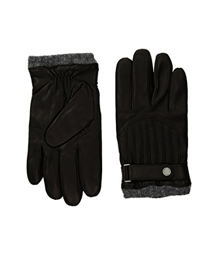 Polo Ralph Lauren Men`s Quilted Leather Racing Gloves (RL Black (0039663653) / Grey, Medium) (Ralph Lauren Polo Leather Gloves)