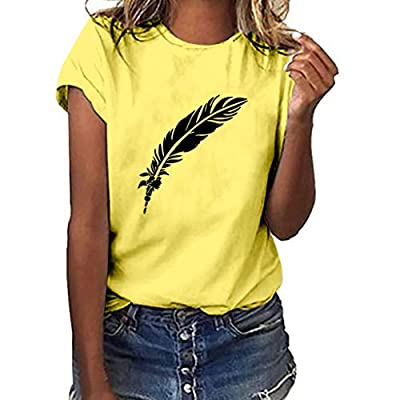 Excursion Clothing Women's Fashion Feather Print Tops Crew Neck Short Sleeve Blouse Casual Solid Color T-Shirt