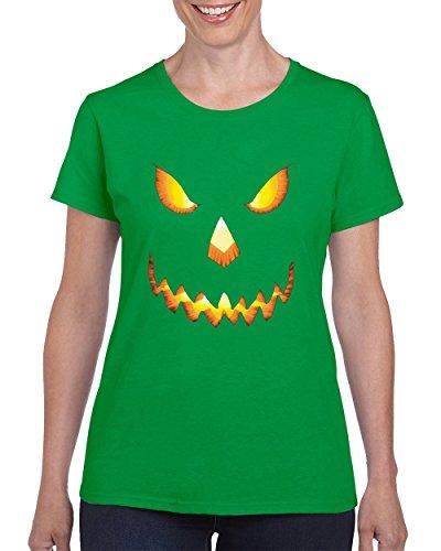 T-Shirts for Women Halloween Costumes Pumpkin Head Lantern T-shirt for Women Round Neck Tee Shirt(Green,Medium) -