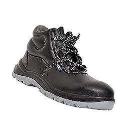 Allen Cooper 1008 Hi-Ankle Safety Shoe Size-5 UK, Black (Free Socks)