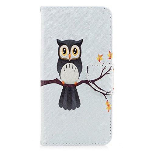 iPhone 7 Plus Coque,Hibou sur l'arbre Portefeuille Fermoir Magnétique Supporter Flip Téléphone Protection Housse Case Étui Pour Apple iPhone 7 Plus 5.5 Pouce