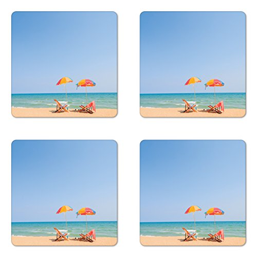 Themed Beach Photo Coaster - Ambesonne Seaside Coaster Set of Four, Beach Chair Umbrella on Beach Leisure Tourist Attractions Decorative Photo, Square Hardboard Gloss Coasters for Drinks, Turquoise Beige
