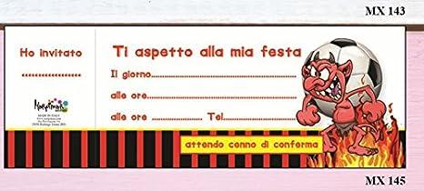 Bloc Carnet de 20 invitaciones cumpleaños fútbol Milan ...