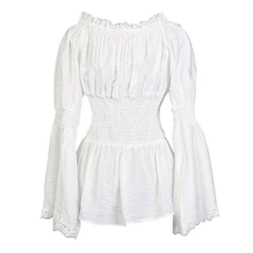 6552319bae12a2 cheap Charmian Women s Long Sleeve Off Shoulder Lace Trim Blouse Tops