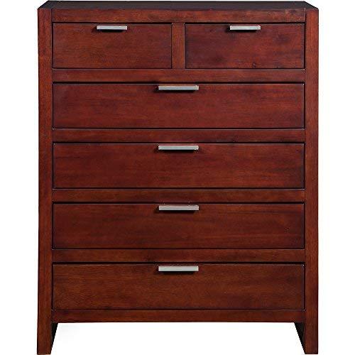 Alpine Furniture 1888-05 Urban 6 Drawer Tall Boy Chest, - Dresser Bedroom Alpine