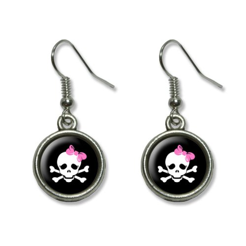 Skulls and Crossbones Daughter Stick Figure Family - Girl Novelty Dangling Dangle Drop Charm (Stick Figure Family Costume)