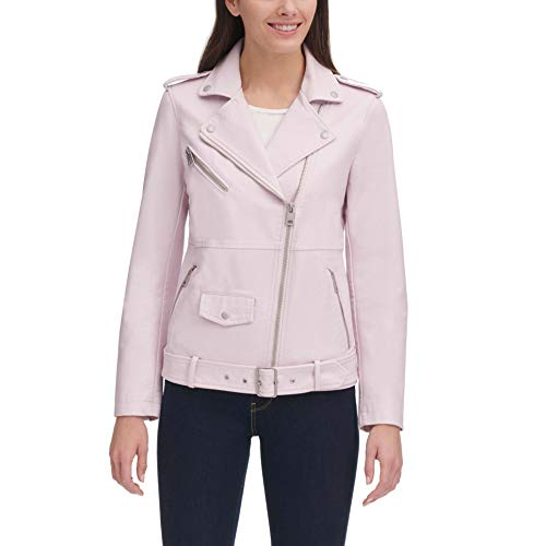 Levi's Women's Oversized Faux Leather Belted Motorcycle Jacket (Standard & Plus Sizes), Blush, X-Large