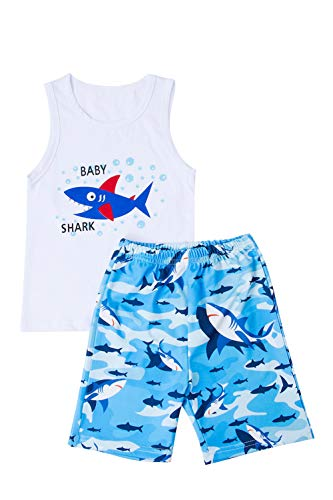 - Belovecol Infant Boys Baby Shark Doo Doo Doo Carttoon Outfits Summer Casual Sleeveless Tops and Camouflage Shorts 12-18M