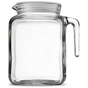 Bormioli Rocco Hermetic Seal Glass Pitcher With Lid and Spout [68 Ounce] Great for Homemade Juice & Iced Tea or for Glass Milk Bottles