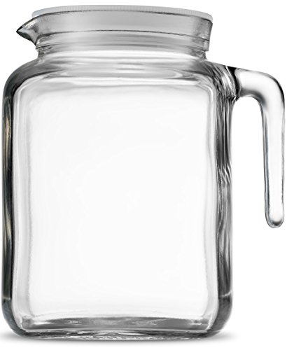 Bormioli Rocco Hermetic Seal Glass Pitcher With Lid and Spout [68 Ounce] Great for Homemade Juice & Iced Tea or for Glass Milk - Glass Juice Glasses