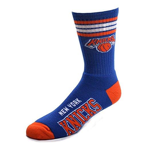 fan products of For Bare Feet NBA 4 Stripe Deuce Crew Men Socks-New York Knicks-Large (10-13)