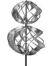dekojohnson – Molinillo de Viento para el jardín de Metal – Molino de Viento Doble Antiguo de Plata – 18/92 cm Grande