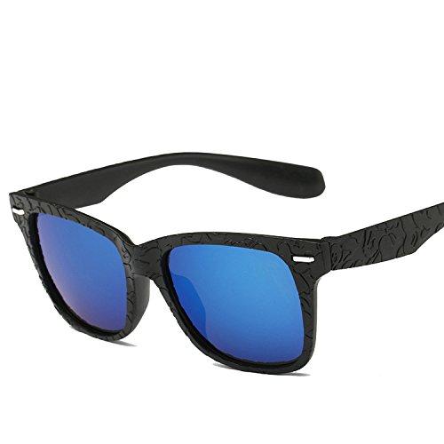 New pattern square face sunglasses personality frame tide men and women universal sunglasses retro sunglasses,A24-4-9732,Black box blue mercury