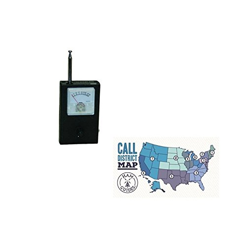 MFJ RF Field Strength Meter, Compact <500MHz and Ham Guides TM Pocket Reference Card Bundle