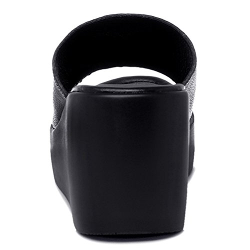 Sandale de Plage Femmes Tongs Mode Antidérapantes Compensés Sandales Talons Plates Ouvertes Noir 3OLdcGK6M