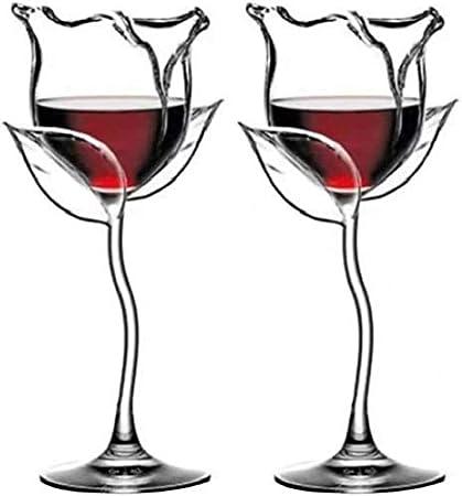Juego de copas de vino rosado de 2 piezas, copa de vino tinto, copa de cóctel, forma de flor rosa, copa de vino, juego de vino para fiestas