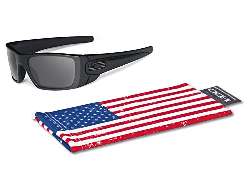 OAKLEY MENS FUEL CELL SUNGLASSES MILITARY STANDARD ISSUE MATTE BLACK FRAME GREY LENS TONAL US FLAG - Oakley Us Military