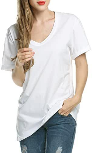 Meaneor Women Solid Comfy Loose Fit Roll Over Short Sleeve V Neck Lightweight Top Tee