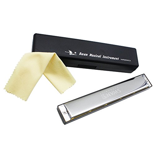 ammoon Swan Tremolo Harmonica Mouth Organ Key of D 24 Double Holes with 48 Reeds Free Reed Wind Instrument with Case Cleaning Cloth