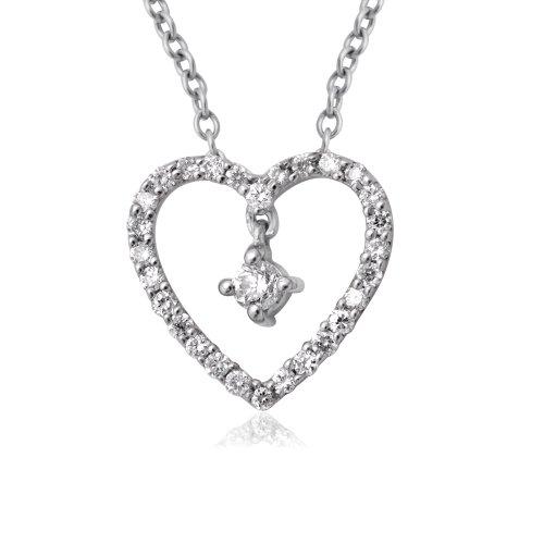 18K White Gold Heart Diamond Pendant Necklace (0.14 carat)