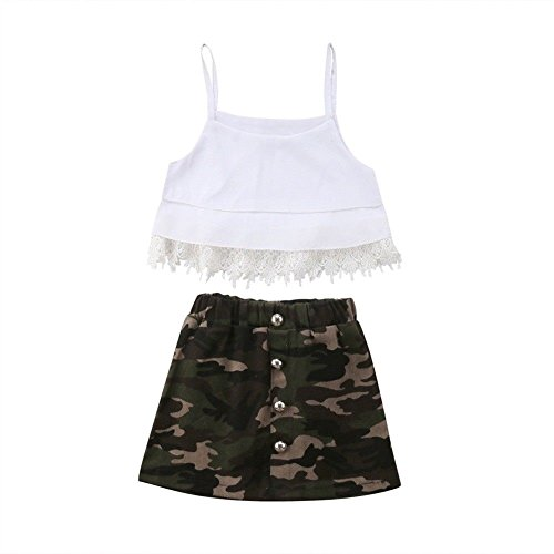 f2c9b1f458cc6 2Pcs Toddler Baby Girls Clothing Lace Tassels Strap Crop Top+Camouflage  Skirt Dress Outfits Clothes