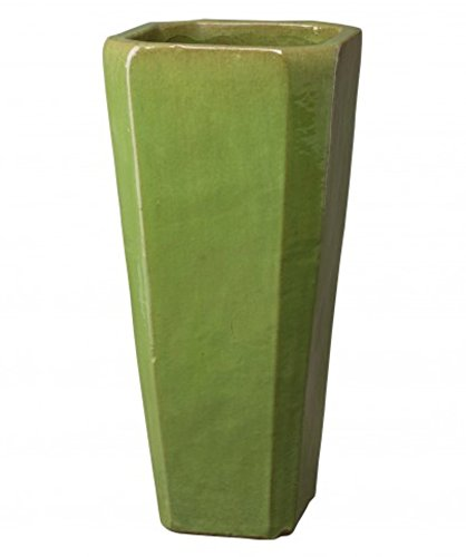 Tall Square Ceramic Planter - Lime Green by Emissary