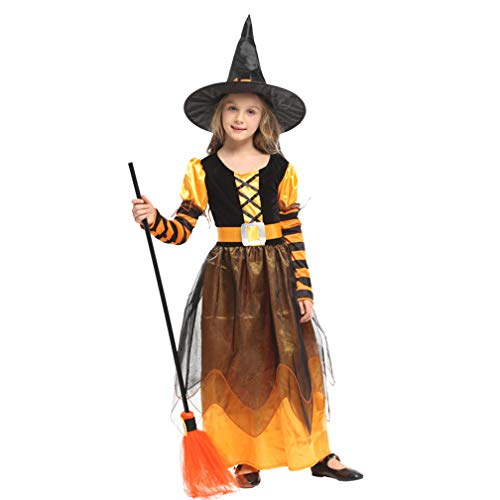 Novel Witch Kids Costume Halloween Miss Matched Witch Girls Fancy Dress Costume pretty lovely outfit Child dress Skirt,Perfect for carnivals, indoor events,theme parties and Halloween etc,L(height:110 ()