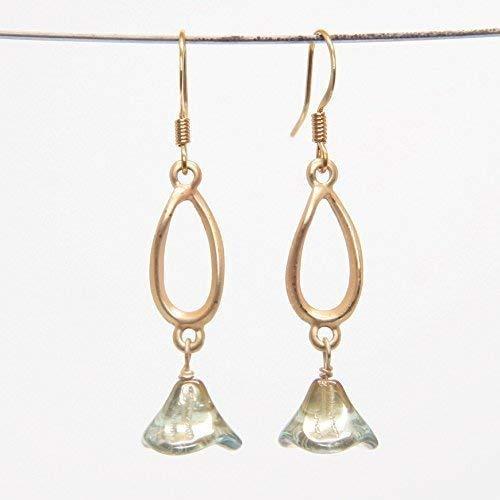 Spring Flower Earring - Subtle Twist Satin Gold Tone Tear Drop, Light Aqua 3 Petal Flower, 1.75-in - Golden Iridescence 3 Light