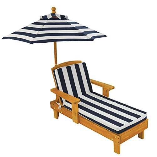High-quality Durable, Adorable, Attractive Blue/ White Striped Outdoor Chaise With An Umbrella For Kids - Kidkraft Outdoor Chaise
