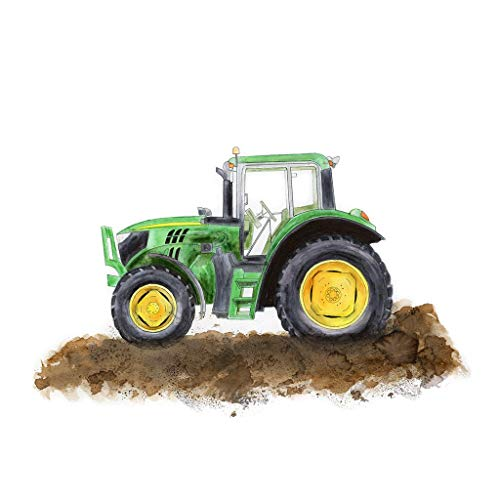 Green Tractor Painting, Nursery Art Print, Farm Equipment Decor - Available In Various Sizes - Green, Yellow - Modern Tractor Green