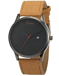 AMPM24 Men's Women's Unisex Date Display Brown Leather Band Analog Quartz Wrist Watch WAA943