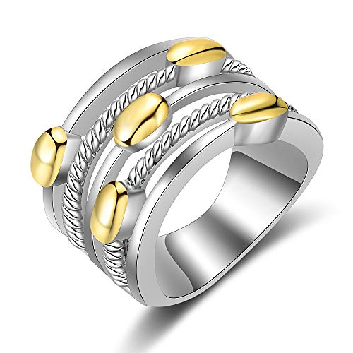 dnswez Fashion Two Tone Cable Rings Gold and Silver Plate Hollow Loop Design Big Wide Band Rings for Women