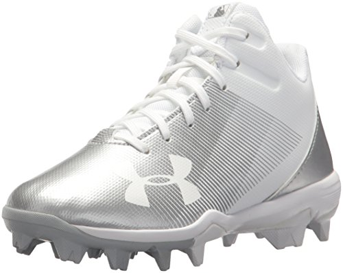 Under Armour Boys' Leadoff Mid Jr. RM Baseball Shoe, White (100)/White, 4.5 by Under Armour
