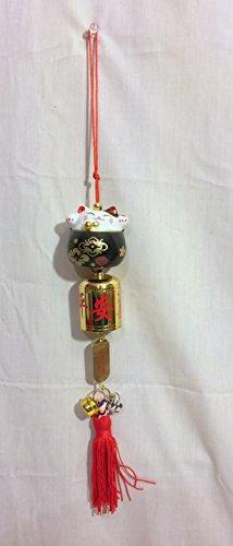 NEW Japenese Maneki Neko Cat Black Wind Chime Bell Decor Apron Lucky 16