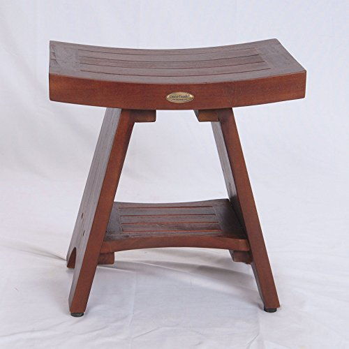 Teak Shower Bench FULLY ASSEMBLED WITH SHELF- Adjustable Height Foot Pads- Serenity Eastern Style with Storage Shelf