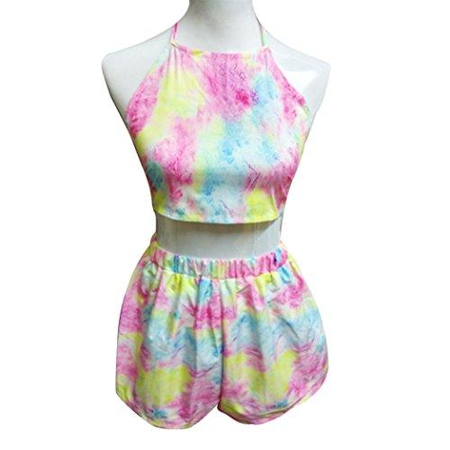 Tie Dye Camisole Dress (Elevin(TM) Womens Rainbow tie-dye backless Crop Top Shorts Twinset Two Piece Hot Pants (S))