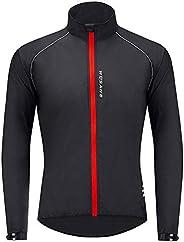 Men Long Sleeve Reflective Cycling Jacket Lightweight Windproof Bicycle Running Outdoor Coat Top