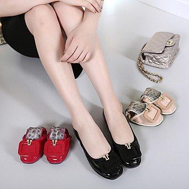 Cómodo y elegante soporte de zapatos de las mujeres pisos primavera/verano/otoño Square Toe/cerrado en los dedos/Flats Casual Flat Heel otros Walking rojo