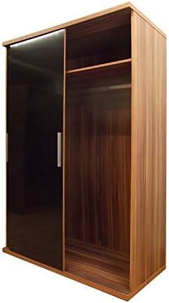Armario para dormitorio con puerta corredera, Black Gloss/Walnut, 7.8x183x183 cm: Amazon.es: Hogar