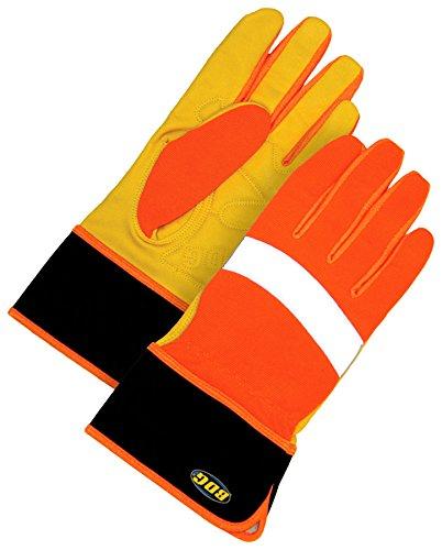 Bob Dale Gloves 2011250L Performance Grain Goatskin Gauntlet Crossover Hi-Viz Orange,