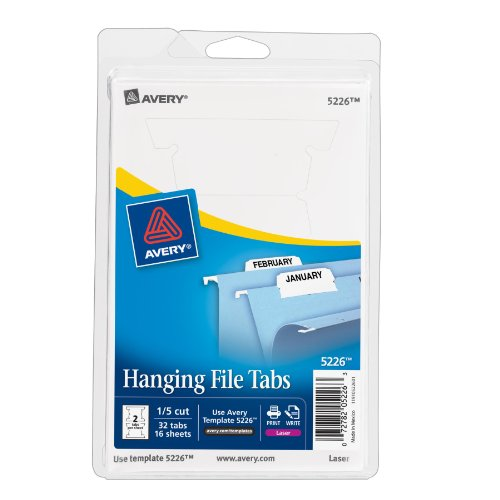 Avery Print or Write Hanging File Tabs for Laser Printers, 1/5 Cut, White, Pack of 24 (5226) by Avery