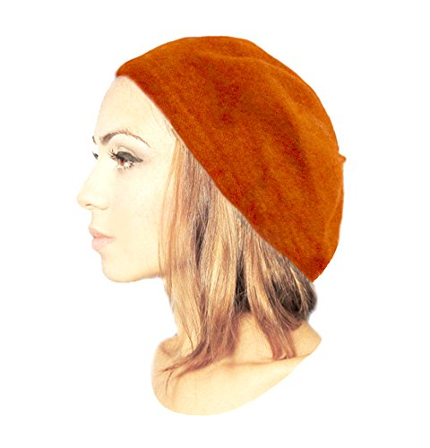 Gold Wool Classic Hat - ShariRose Women's Wool French Beret Classic Artist Slouch Hat Tam in 8 Stunning Winter Colors! (Orange)