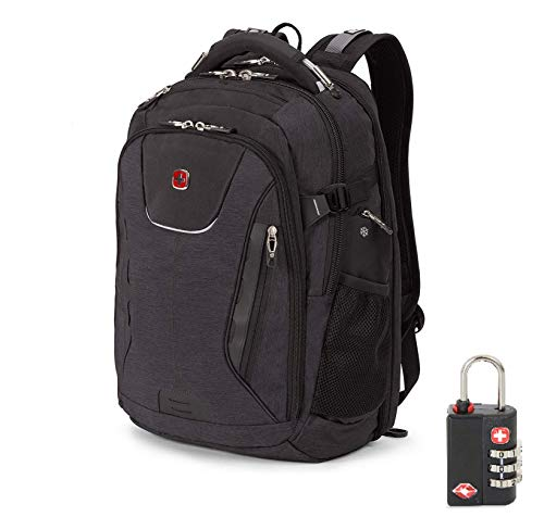 SwissGear 5358 USB ScanSmart Laptop Backpack. Abrasion-Resistant & Travel-Friendly Laptop Backpack Exclusive Bundle with Lock (Grey Heather w/Lock)