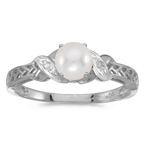0.01 Carat (ctw) 10k White Gold Round Freshwater-Cultured Pearl and Diamond Crossover Infinity Antique Promise Fashion Ring (4.5 MM) - Size 4.5