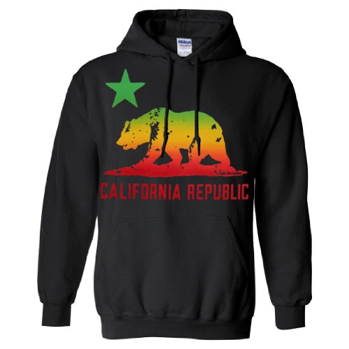 Dolphin Shirt Co California Republic Rasta Bear Flag Sweatshirt Hoodie - Black Large
