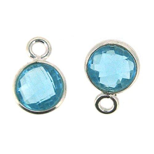 Bezel Gemstone Pendant - Tiny Circle Shape - 7mm - Sterling Silver Bezel Gem (2 pcs) (Blue Topaz)