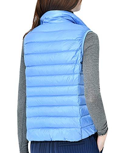 Stand Lightweight Sleeveless Collar Vest Packable Winter Coat Jacket Warm Women Blue Xwq566