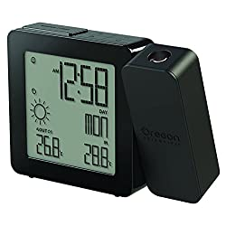 Oregon Scientific BAR368PA Weather Forecaster, Dual Alarm, Indoor-Outdoor Thermo Projection Atomic Clock, Black