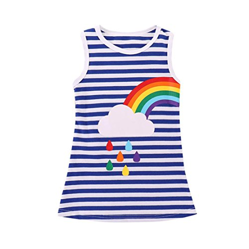 DORIC Toddler Infant Baby Girls Dress Striped Rainbow Printed Sundress Sister Clothes