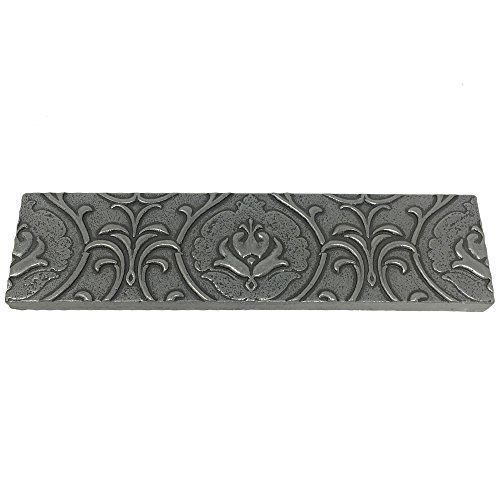 Vogue Tile Resin Pewter Metallic Look Pack of 3 Pieces 2'' x 8'' Liner Trim Border Wall Tile for Kitchen Backsplashes & Bathroom Walls (Pewter)